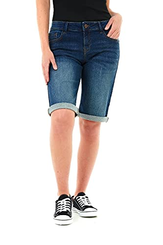 M17 Womens Casual Knee Length Denim Shorts Pantalones Cortos de Jean, añil, 44 para Mujer