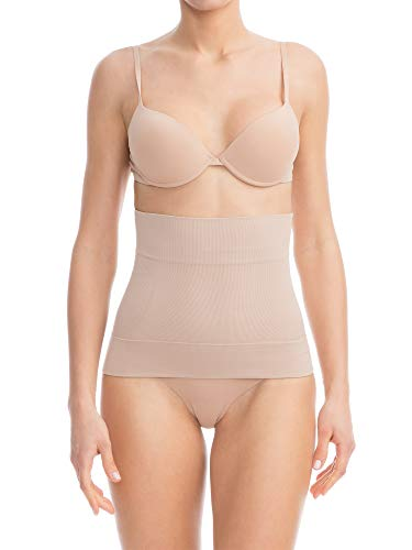 Farmacell Bodyshaper 605S (Nude, S) Invisible Shaping Girdle Waist Shaper 4 splints Anti Rolling Down, 100% Made in Italy