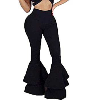Nuofengkudu Women Bell Bottoms Pants Casual Elastic Empire Waist Stretch Skinny Tight Leggings Pants for Women Black1 M