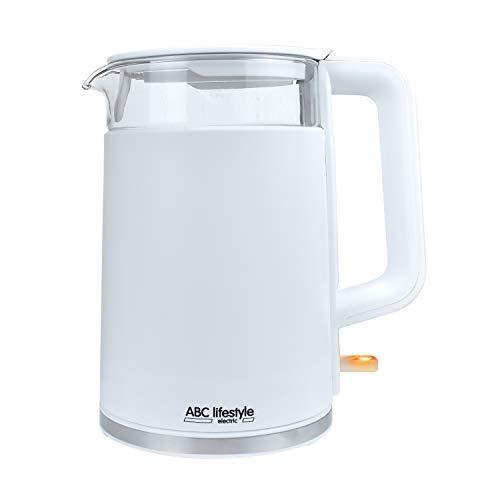 1.7L Cool Touch Design Wasserkocher, ABC Lifestyle Doppelwandiges Gehäuse - Wird Außen Nicht Heiß Wasserkocher, Abschaltautomatik und Trockenkochschutz, Kalkfilter, Strix Controller, BPA-frei, Weiß