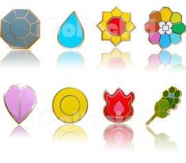 Lbs4All Komplett-Set von 8 Silber Kanto Gym Leader-Abzeichen Revers-Stifte von Pokemon Pikachu Serie 1 von für Herren Silber