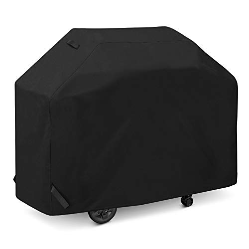 SunPatio Gas Grill Cover 60 Inch, Outdoor Heavy Duty Waterproof Barbecue Grill Cover, UV and Fade Resistant, All Weather Protection for Weber Charbroil Brinkmann Grills and More, Black Covers Grill