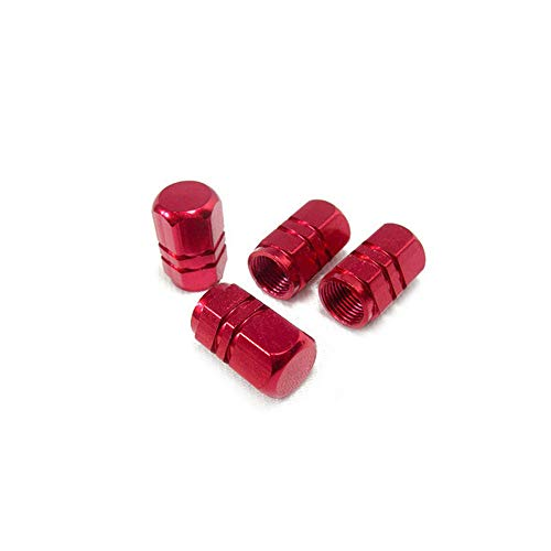 Nigoz - Juego de 4 tapones de válvula de aleación de aluminio para rueda de coche, color rojo