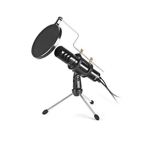 Dihuan Kondensator-Aufnahme-Mikrofon, Tischmikrofon mit Soundkarte for Laptop-Computer Online Game Voice Overs Rundfunk for Computer-Laptop Spiel Conference