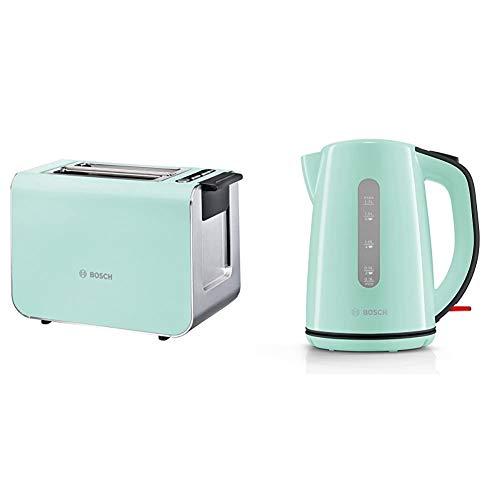 Bosch TAT8612 Styline Kompakt-Toaster, Auftau/Aufwärmfunktion, versenkbarer Brötchenaufsatz, Abschaltautomatik, 860 W, grün & TWK7502 kabelloser Wasserkocher, Abschaltautomatik, 1,7 L, 2200 W, türkis