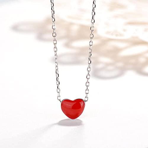 TYERY Collar de Regalo para Mujer Collar de Plata Esterlina S925, Collar de Amor Rojo Femenino, Cadena de Clavícula Corta en Forma de Corazón,Grande [conjunto de cadena], Plata 925