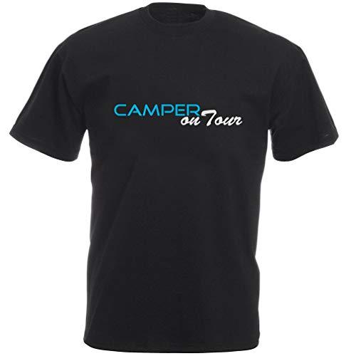 """schwarzes Fun Camper Shirt mit Aufdruck """"Camper on Tour"""" als Geschenkidee für Zeltplatz und Wohnwagen Liebhaber"""