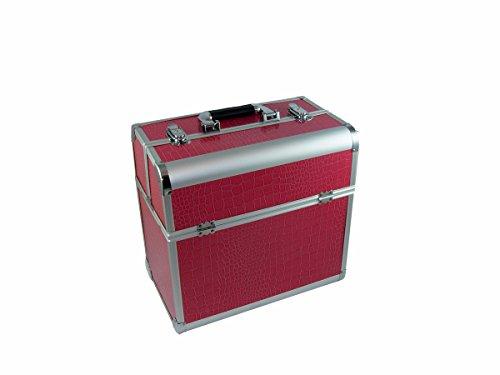 N&BF Profi Kosmetikkoffer groß   35 x 22 x 36 cm   Beautycase Pink Croco   robuster Nagelkoffer aus Aluminium   Viel Stauraum   Aufklappbare Fächer auf zwei Etagen verteilt   pflegeleicht