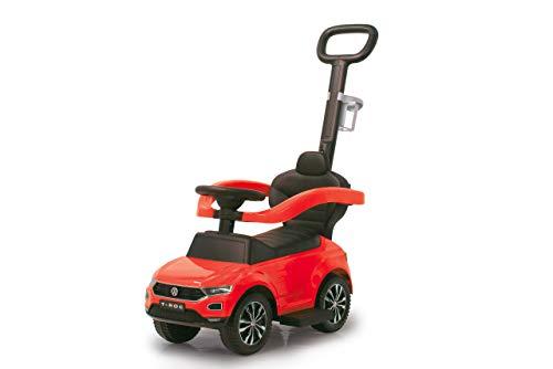 Jamara 460461 Rutscher VW T-ROC 3in1 – Kippschutz, Kofferraum, Schub- und Haltestange mit Lenkfunktion, Rückenlehne, seitlichen Schutzbügel, ausziehbare Fußauflage, Sound/Hupe am Lenkrad, rot