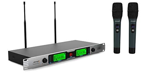 """Audibax - Missouri Rack B - Micrófono Inalámbrico Profesional UHF Doble - Set de 2 Micrófono de Mano Montaje en Rack 19"""" - Rango de Cobertura 50-80 metros - Modo de Modulación Analógico - Pilas AA"""