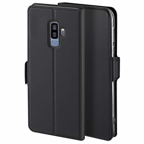 HoneyCase für Handyhülle Samsung Galaxy S9 Plus Hülle Leder Premium Tasche Case für Samsung Galaxy S9 Plus, Schutzhüllen aus Klappetui mit Kreditkartenhaltern, Ständer, Magnetverschluss, Schwarz