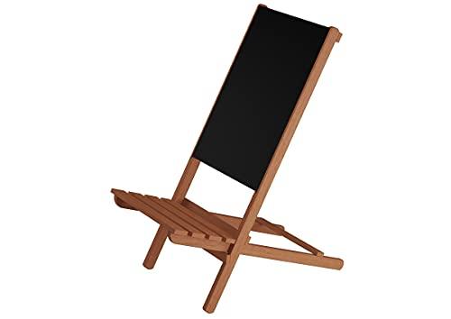 Erst-Holz Klappstuhl Strandstuhl Anglerstuhl Gartenstuhl Stuhl zum Zusammenstecken XXL Stuhl V-10-360, Stofffarbe:schwarz