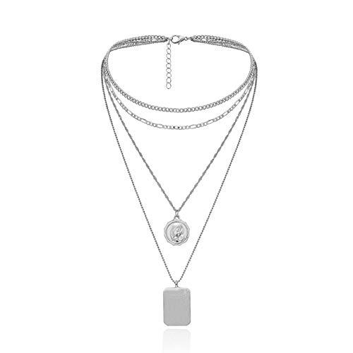 AmDxD Versilbert Damen Halskette Geprägtes Porträt Multi Schichten Kette Anhänger Statementkette Punk Ketten Silber 31CM