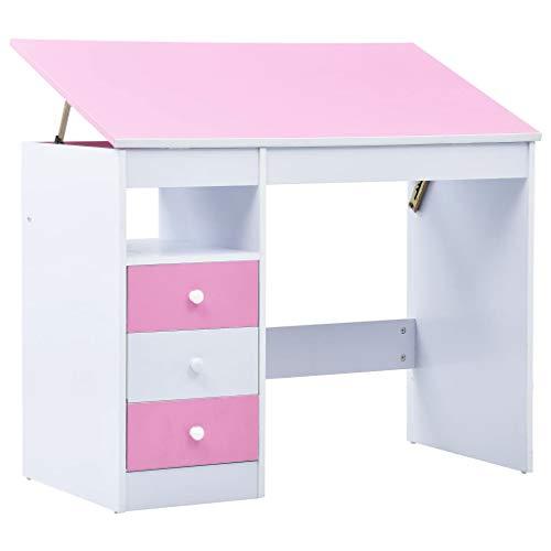vidaXL Kinderschreibtisch mit 3 Schubladen Kippbar Neigungsverstellbar Schreibtisch Schülerschreibtisch Computertisch Rosa Weiß Spanplatte