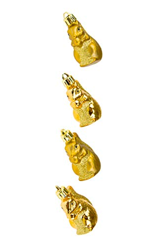 Clever Creations Shiny Gold Squirrel Christmas Tree Ornament Set | 4 Pack | Festive Holiday Décor | Lightweight Shatter Resistant | Strings Included | 2.5' Tall