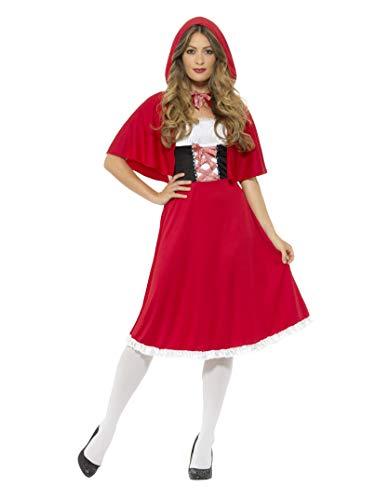 SMIFFYS Costume Cappuccetto Rosso, Rosso, con Vestito Lungo e Mantella