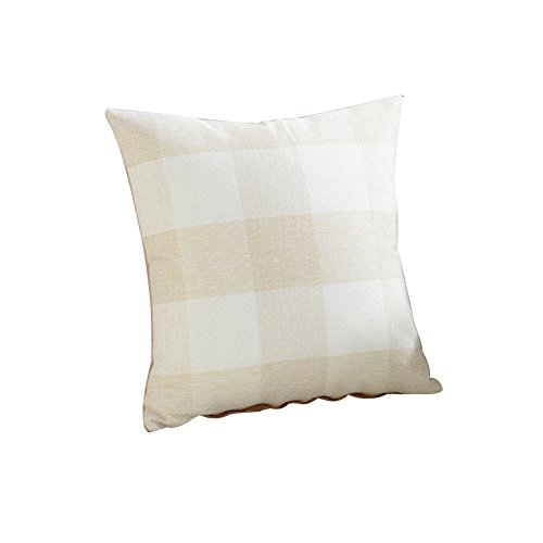TELLW oreiller couverture coton linge plaine canapé en treillis Accueil taie