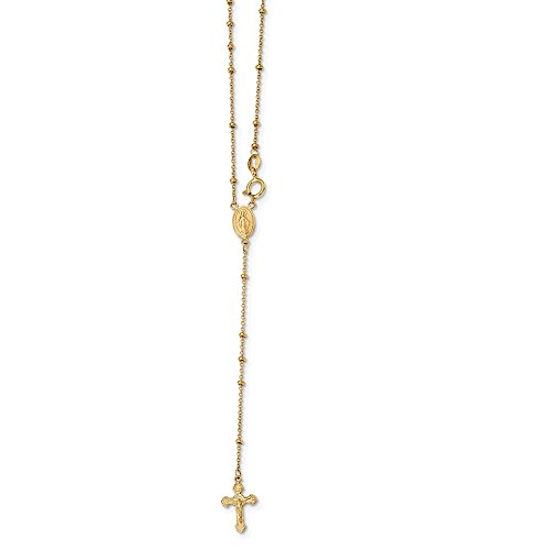 14k Yellow Gold 2mm Beaded Rosary Chain Necklace Pendant Charm Fine Jewellery For Women Gifts For Her