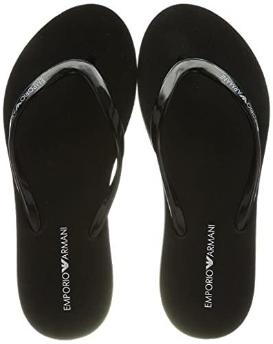 Emporio Armani Swimwear Flip Flop Essential, Chanclas Mujer, Color Negro, Blanco y Negro, 39 EU