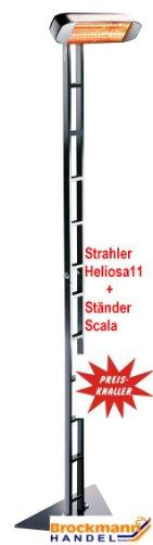 HELIOSA 992 Ständer SCALA KOMPLETT mit Infrarotstrahler 1500 Watt IPX5, aus robustem Aluminium-Druckguss hergestellt und mit thermoplastischen Lacken für den Außenbereich lackiert. Kurzwellen - Heizstrahler für Indoor und Outdoor geeignet, Farbe: Anthrazit