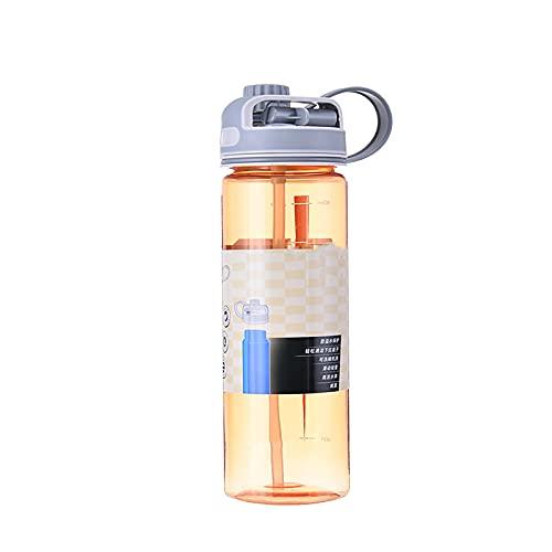 Botella de agua con paja a prueba de fugas Bpa Free Gym Deportes al aire libre reutilizable jarra de agua 700ml naranja