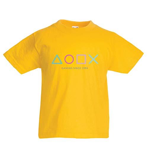 lepni.me Kinder Jungen/Mädchen T-Shirt Videospiel-Controller, Geschenk für Gamer, Gaming-Liebhaber-Bekleidung (14-15 Years Gelb Mehrfarben)