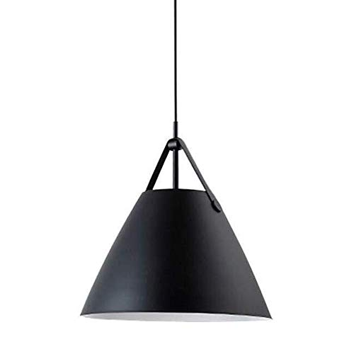 Nordic Creative hanglamp E27 Kroonluchter, lederen riem & Iron lampenkap Loft Bar Woonkamer Slaapkamer Restaurant Cafe Lighting Lamp (Color : Black)