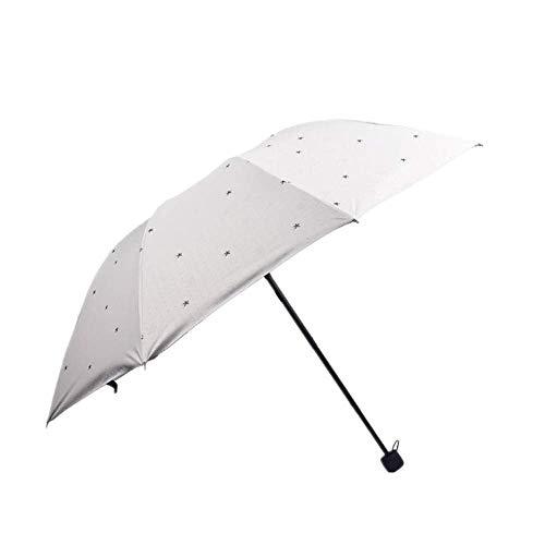 DZNOY Paraguas Plegables de Moda Linda de la Historieta de la Historieta de la Sombra Triple Pliegue la Lluvia de la protección Solar y el Sol Paraguas sombrilla (Color : Rice White)
