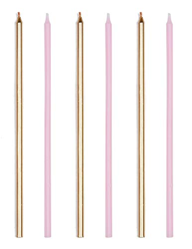 Anniversary House AHC214 Pink and Gold Mix Extra Tall Candles with Holders-16 Pcs