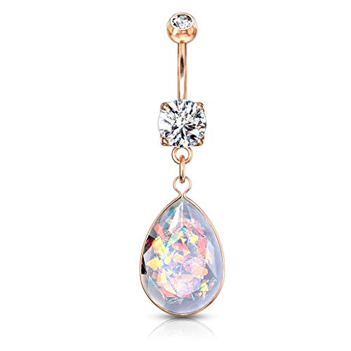 Amelia Fashion 14GA Rainbow Glitter Opalite Stone Dangle Belly Button/Navel Ring 316L Surgical Steel (Choose Color) (Rose Gold/Clear)