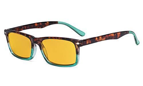 Eyekepper Blau Licht Blockierung lesen Brille Männer Frauen mit Bernstein Getönt Filter Linse - Anti Digital Bildschirm Blendung UV Strahl Computer Brille - Schildkröte/Grün +2.25