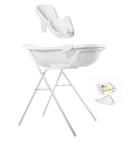 Funny Farm weiß Baby Badewanne XXL 100 cm mit Stöpsel + Badewannenständer + Badesitz + Ablaufschlauch