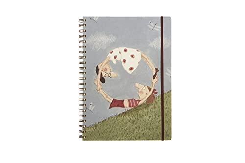 Cuaderno de espiral A4, 120 hojas, tapa de plástico y portafolios, cuaderno de anillas, apto para recordatorios, escuela, oficina con gráficos de Le Nasute, temática 'todo redondo'
