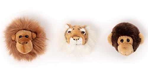 Wild & Soft Jungle Box mit 3 Trophäen Tiger, AFFE, Orang-Uutan: 3 Plüschtiere als Wanddekoration im Kinderzimmer. Ca 20x20cm