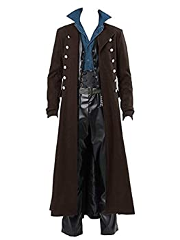 Bbalizko Mens Gothic Tailcoat Jacket Vintage Steampunk Victorian Double Breasted Tuxedo Coat  Brown 2XL