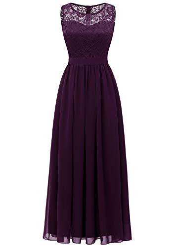 Dressystar 0046 Abendkleid Basic Chiffon Spitzen Ärmellos Brautjungfernkleider Bodenlang Grape L