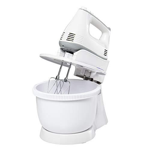 HOMCOM 2 in 1 Handrührer Elektrisches Handmixer-Set mit Tischständer 3,4-Liter-Rührschüssel 300W 6 Geschwindigkeiten Inclusive Turbo Stahl Weiß 30,5 x 21,8 x 35,4 cm