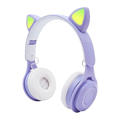 XJST Auriculares Bluetooth sobre Oreja, 6H Tiempo De Juego, Audio De Alta Resolución, Bajos Profundos, Tazas De Orejas De Espuma De Memoria, Adecuadas para Niñas, con Luces Arcoiris,Púrpura