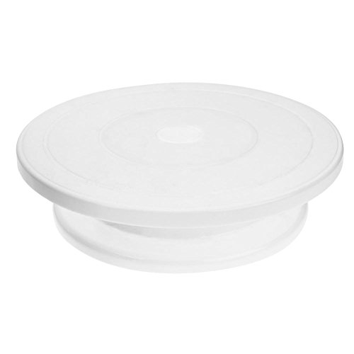 UEB Piatto Torta Girevole DIY Torta Piattaforma Girevole Supporto per Torta Rotonda Giradischi Alzata per Dolci e Frutta (Bianco)