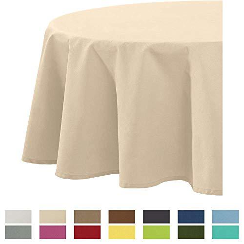 REDBEST Tischdecke, Tischwäsche Uni Seattle, 100% Baumwolle - Robustes, glattes Gewebe, beige Größe rund 160 cm Ø (weitere Farben, Größen)