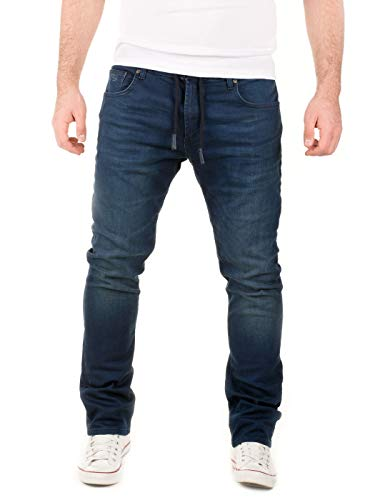 WOTEGA Herren Jeans Noah - Sweathose in Jeansoptik - Männer Jogg-Jeans Slim, Blau (Dress Blues 3R4024), W34/L34