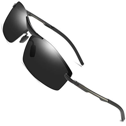 AORON Gafas de sol polarizadas para hombre, deportivas, protección UV, gafas de conducción, gafas polarizadas con bisagra de resorte para CE (negro)