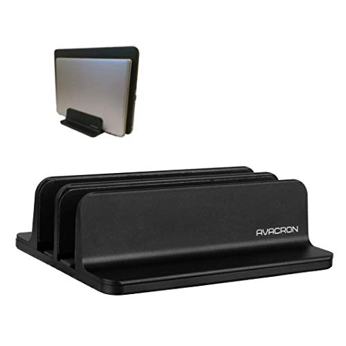 Vertical Laptop Stand by Avacron, Desktop Computer Organizer Rack with Adjustable Dual Holder, Fits All Laptops Up to 17.3 Inches (Black)
