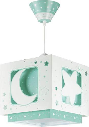 Dalber Moon Light Lámpara de Techo Infantil Luna y Estrellas MoonLight Verde