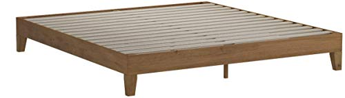 Zinus 12 Inch Deluxe Wood Platform Bed / No Boxspring Needed / Wood Slat Support / Rustic Pine Finish, King