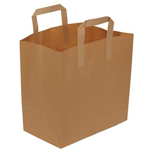 Asiam Impex Sarl Sac en Papier – Poignée Plat - 28x16x28-70gsm – 50 piéces - Papier Kraft Marron - Non imprimé -0 Recyclable