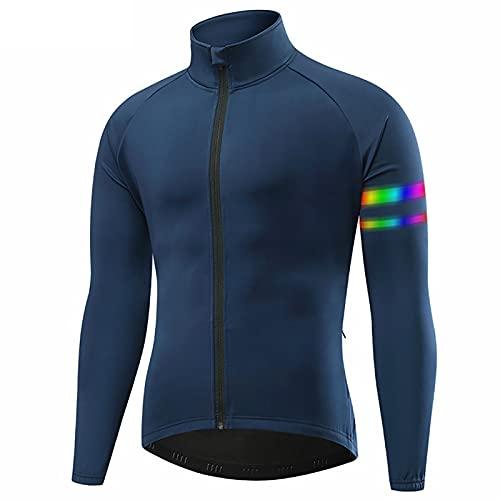 TDHLW Chaqueta de Ciclismo de Invierno para Hombre, Impermeable Transpirable Tres Capas Lana Térmica Compuesta para Bicicleta,Azul,XXL