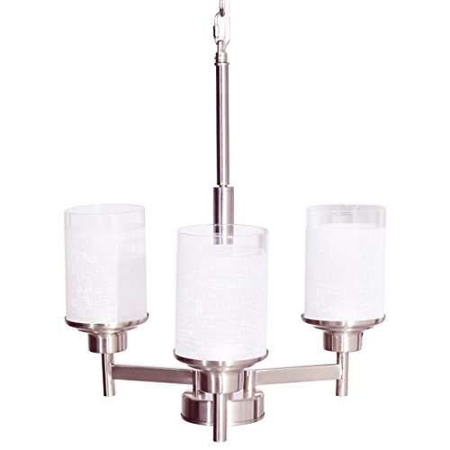Tangkula Chandelier Home Hall Living Room Pendent Light Ceiling Lamp (Brushed Nickel, 3 Lights)