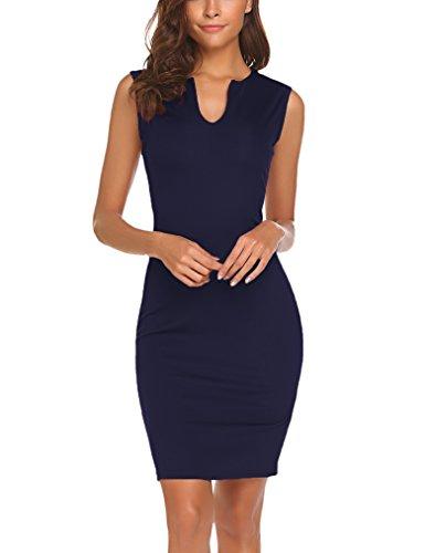 Naggoo Women's Business Wear to Work Sleeveless V Neck Bodycon Pencil Dress 02 Navy Blue M