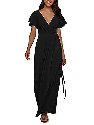 ALICEPUB Custom Dress V Neck Wrap Black Bridesmaid Dresses Long for Women Chiffon Formal Wedding Party Dress with Sleeve, Custom Size